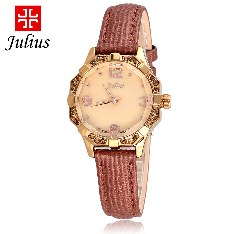 Poly lee julius korean fashion female form mother of pearl korean version of the digital small dial diamond watch strap watch