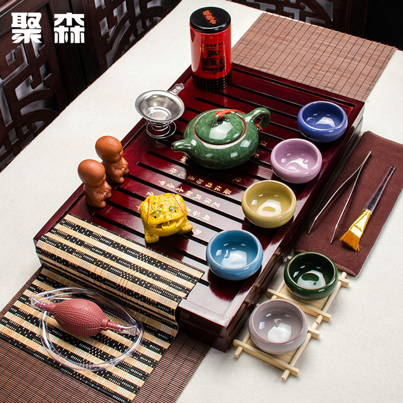 Poly sen entire kung fu tea set binglie glaze tea set special wood tea tray tea tea pet accessories