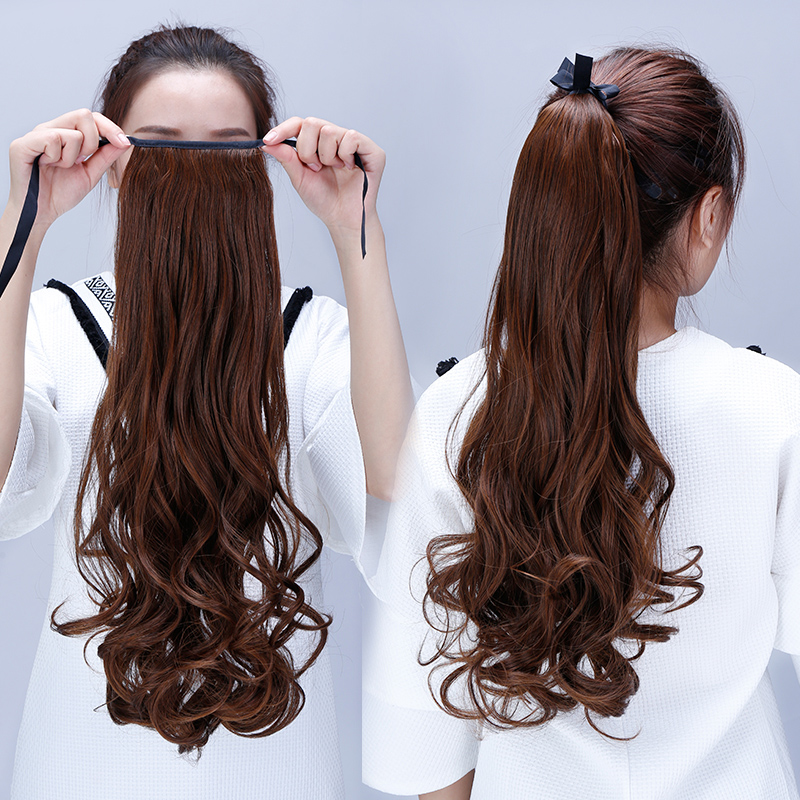 Ponytail wig lifelike female wig hair piece pear volume ponytail wig female big wave long hair ponytail