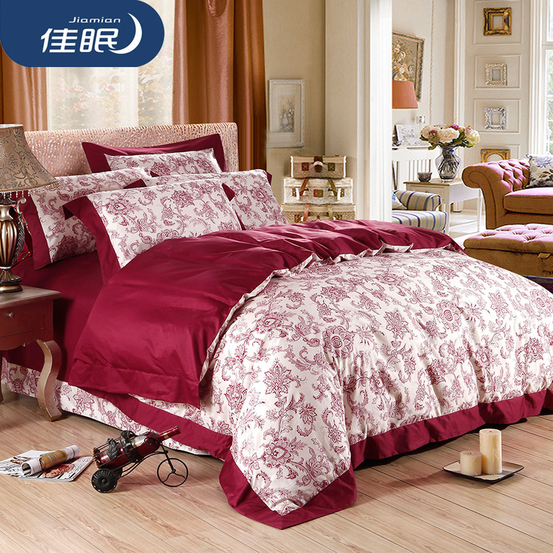 Poor sleep textile cotton sateen cotton wedding celebration bedding linen family of four autumn and winter m bed