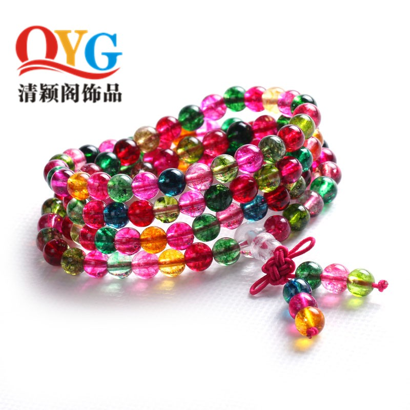 Popcorn crystal rosary bracelet 108 prayer beads bracelet resembles candy tourmaline crystal colorful beads prayer beads bracelet female models