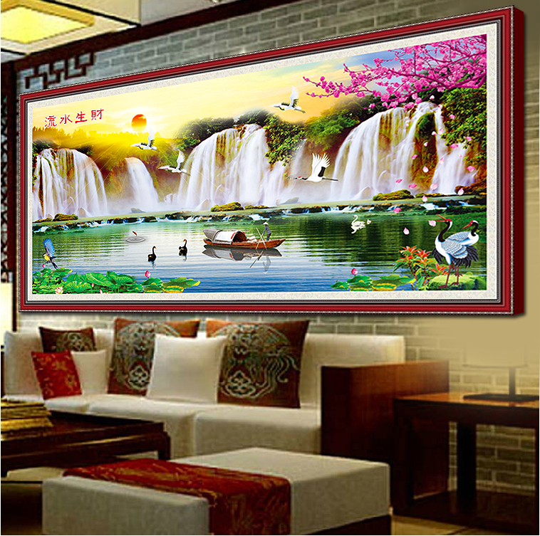 Precision printing stitch landscape painting the new way of making money flowing caiyunhengtong substantial living room landscape painting series
