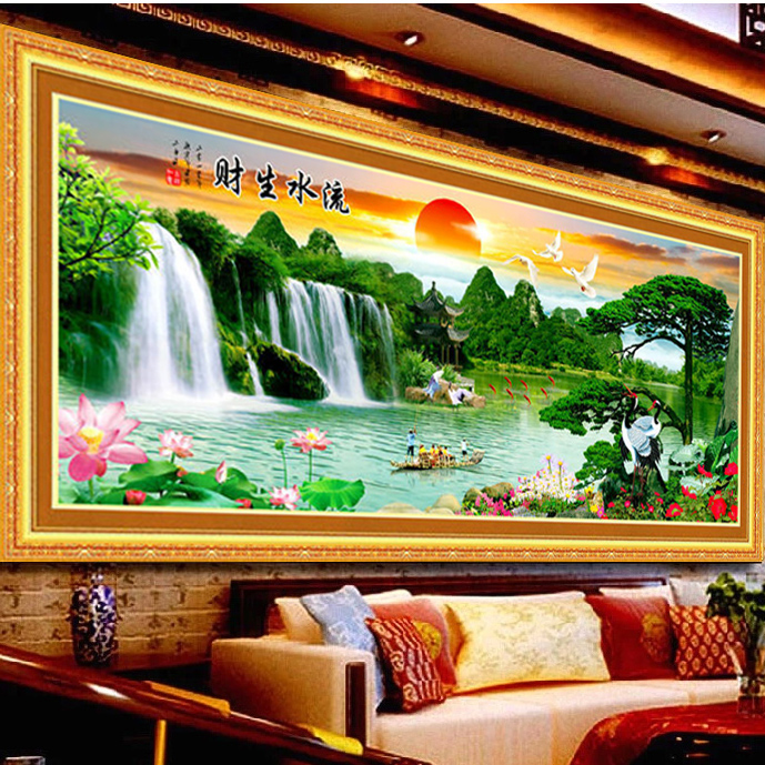Precision printing stitch new living room making money flowing heng tong extra cash fortunes rising sun landscape painting