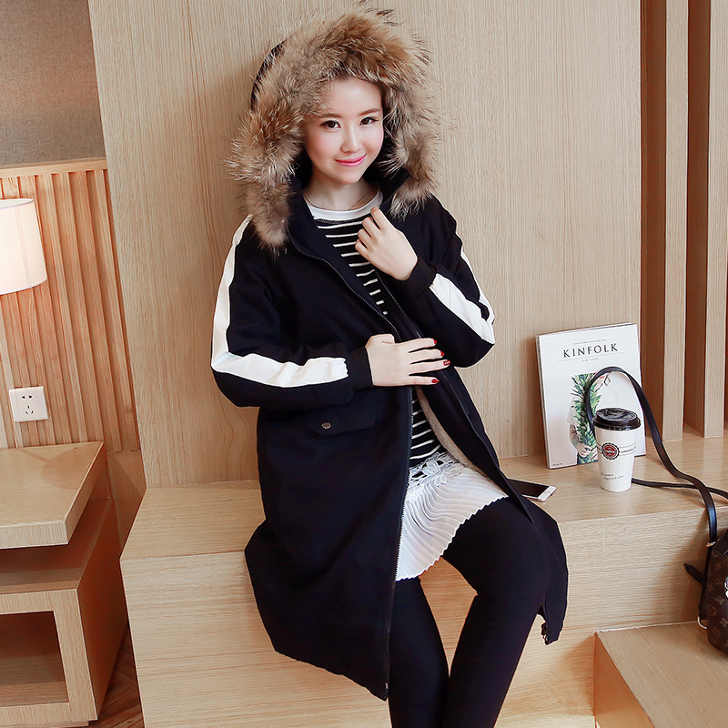 Pregnant women jacket pregnant women cotton padded winter coat korean women loose hooded winter jacket and long sections