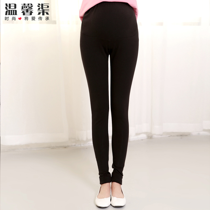 Pregnant women leggings spring tide thin section cotton outer wear korean tidal mother care belly pencil trousers korean wild black color Pants