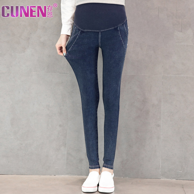 Pregnant women pants high elastic outer wear trousers autumn new fashion casual slim denim care of pregnant women pregnant belly pants pants feet