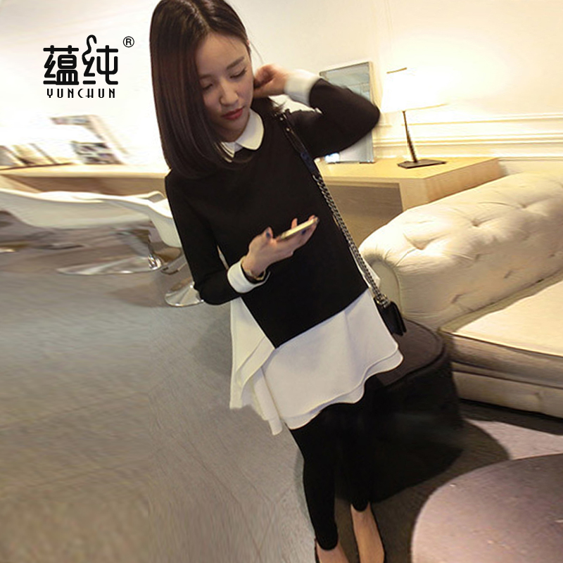 Pregnant women skirt spring and autumn korean version of large size jumpsuit autumn and winter fashion maternity leave two pregnant women plus thick velvet skirt and long sections