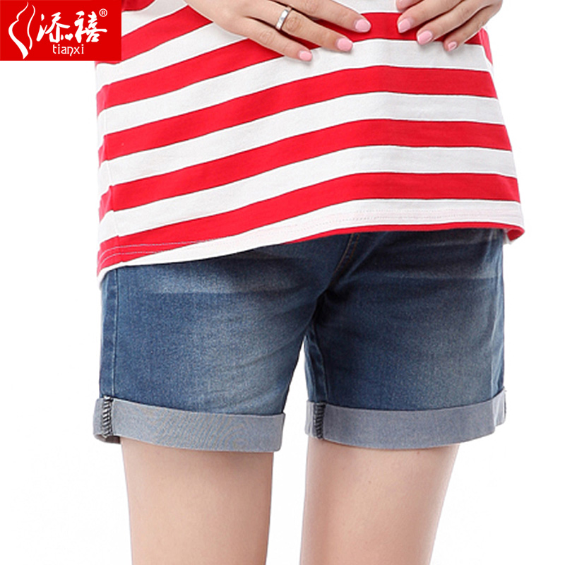 Pregnant women spring summer fashion maternity pregnant women denim shorts flanging shorts shorts five pants big yards