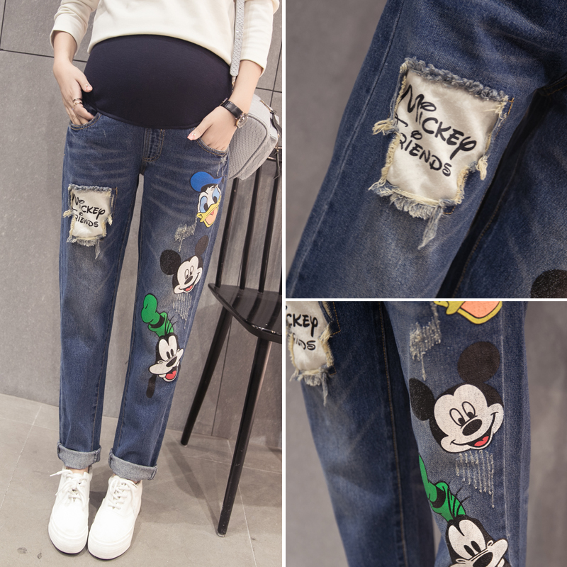 Pregnant women straight jeans spring and autumn cute cartoon pregnant woman pregnant women straight jeans pants loose hole harem pants summer