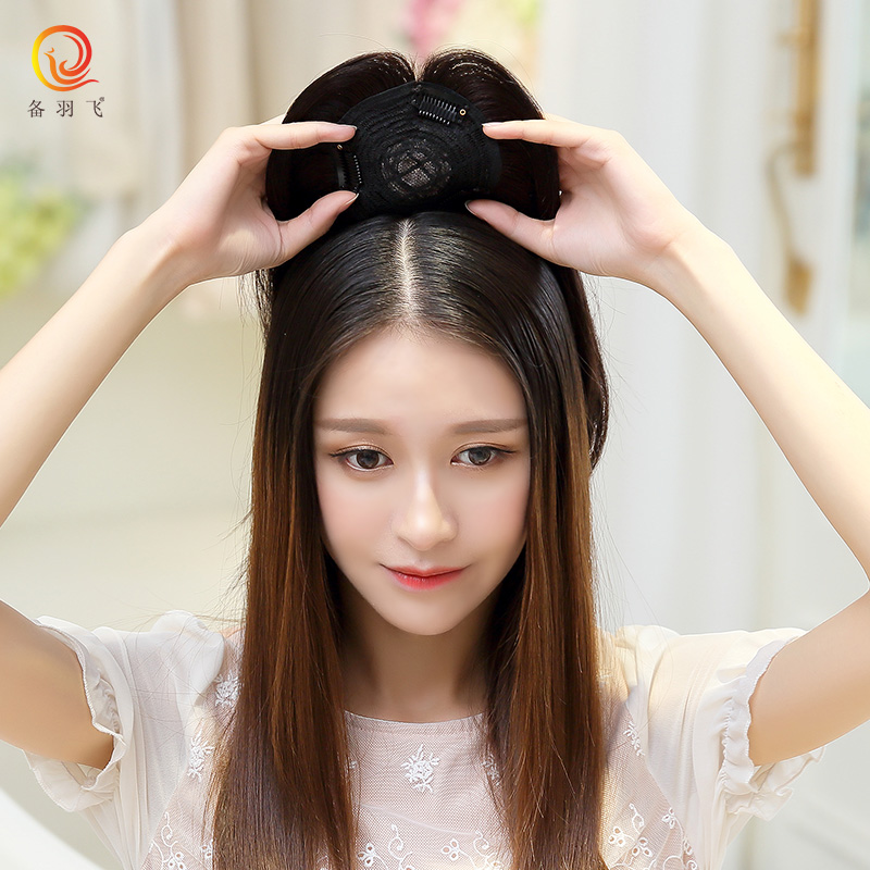 Prepare yufei real hair toupee hair top cover gray hair replacement block replacement piece female wig bangs piece
