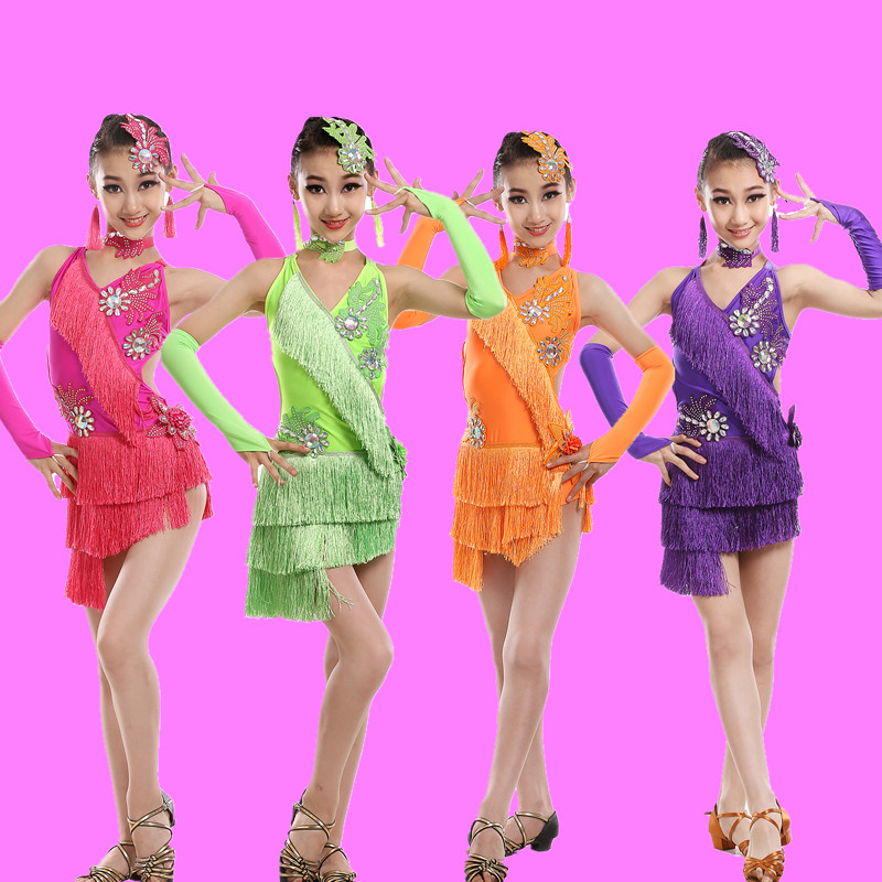 Preschool children's latin dance clothing children latin dance competition show performance clothing latin girls latin dance skirts and new