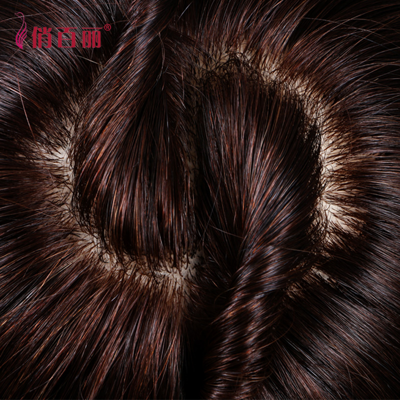 Pretty belle real hair hair piece wig piece seamless delivery needle top top cover gray hair replacement piece female straight hair replacement piece