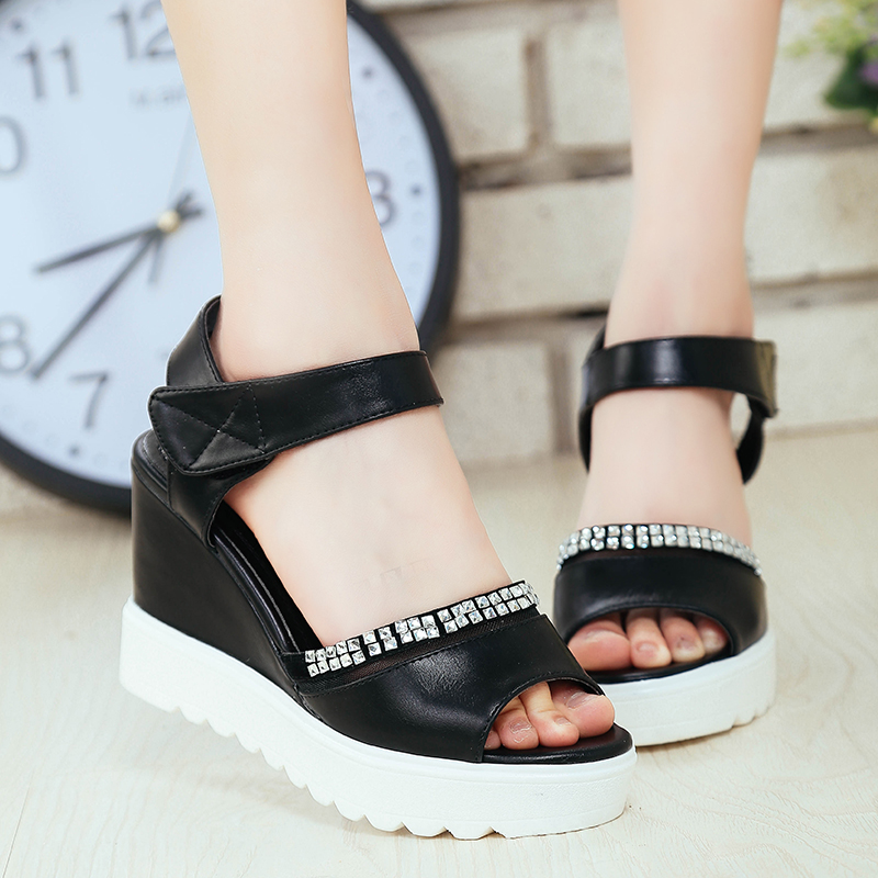 83de87ac96a5f Get Quotations · Pretty girl 2016 summer new shoes sandals high heels word  buckle sandals slope with platform sandals