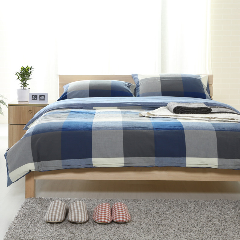 Pretty good men naked unstamped wind tianzhu cotton washed cotton plaid bedding cotton bed li family of four models