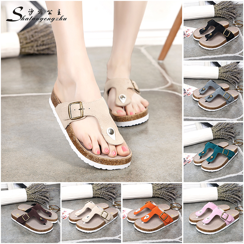 3b8e69f0038a5 Princess beach cork slippers word summer leather sandals and slippers flip-flops  sandals slip a