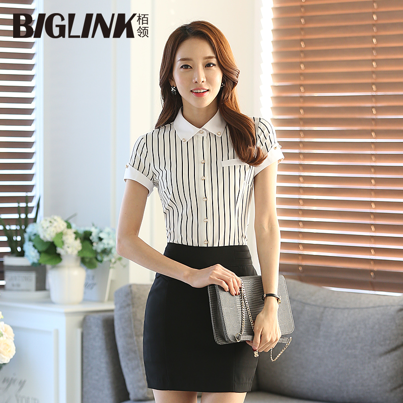 Professional women's striped short sleeve shirt overalls dress slim long sleeve plaid shirt big yards tooling