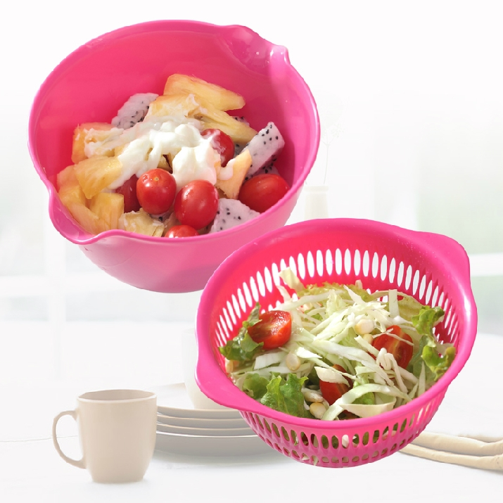 Promotional fruit bowl of fruit and vegetable plastic drain basket mini double sieve round home dripping basket catering kitchen