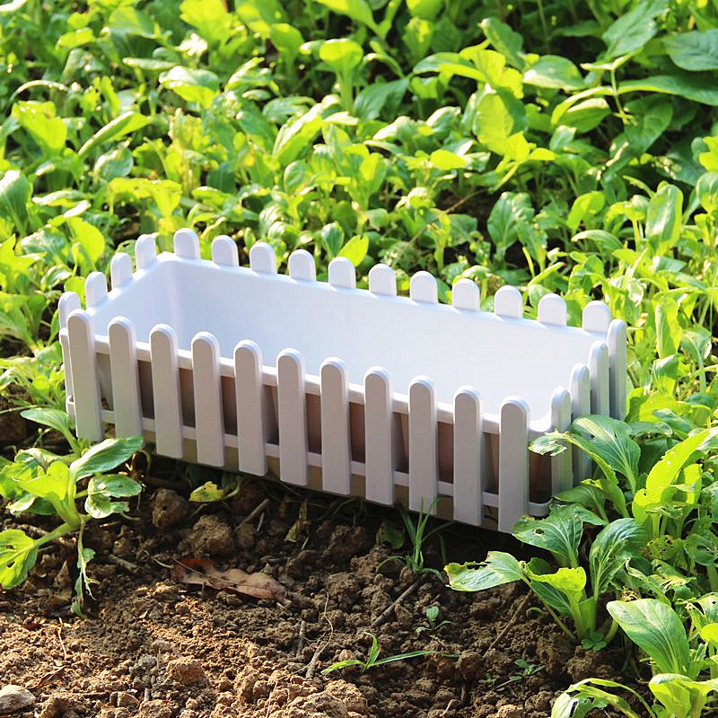 Get Quotations · Promotional White Plastic Fence Fence Fence Planters Pots  Large Rectangular Tin Balcony Garden Vegetables Basin Bowl