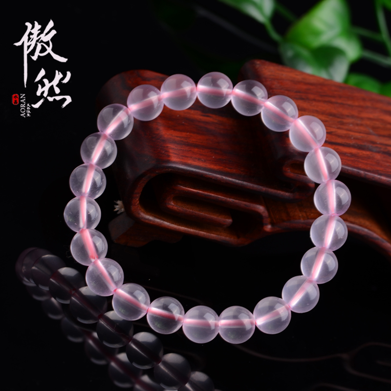 Proudly genuine ice kinds of madagascar rose quartz bracelet pink rose quartz crystal bracelet female sweet rose quartz jewelry bracelets