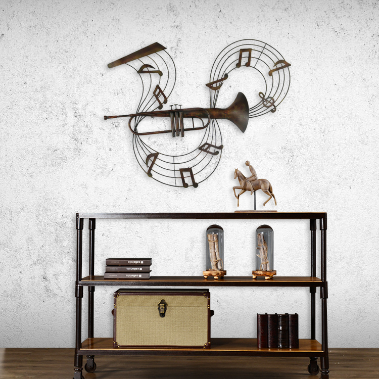 Psyche creative ktv hotel wall hanging decorative wall hangings cafe industrial style wrought iron decorative wall--trombone