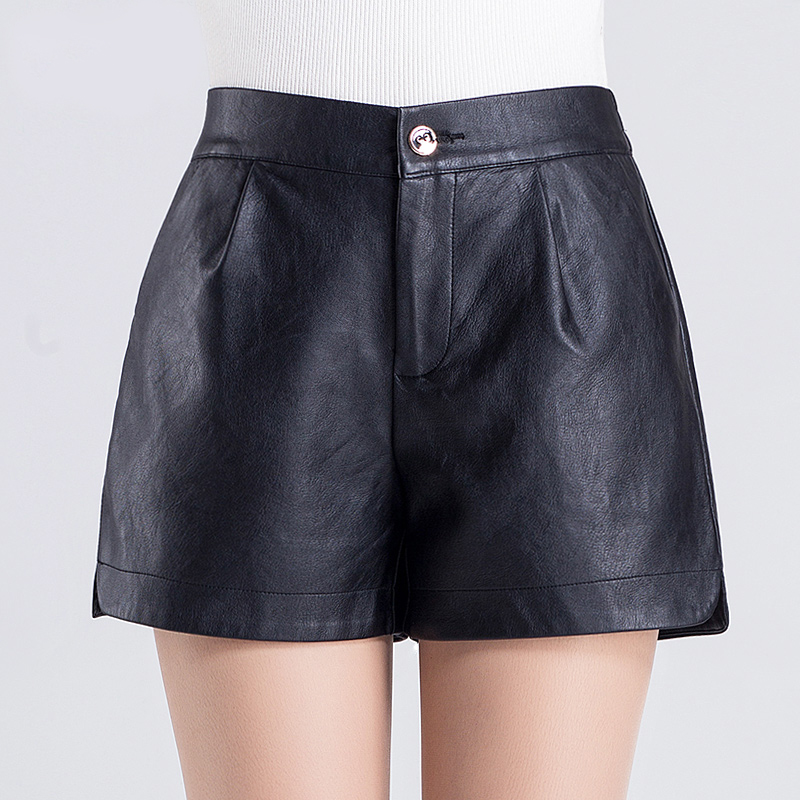 Pu leather pants female new winter korean version was thin outer wear leather pants big yards wide leg pants shorts shorts leisure a Word shorts