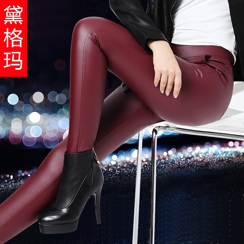 Pu leather pants female outer wear leather pants pants feet was thin female outer wear trousers female pencil pants 2016 female long Leather pants new
