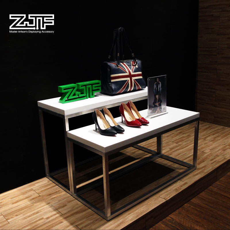 Public carpenter square zjf clothing store water table level showcase shoe bag shop stainless steel island shelf wooden display stand Shelf