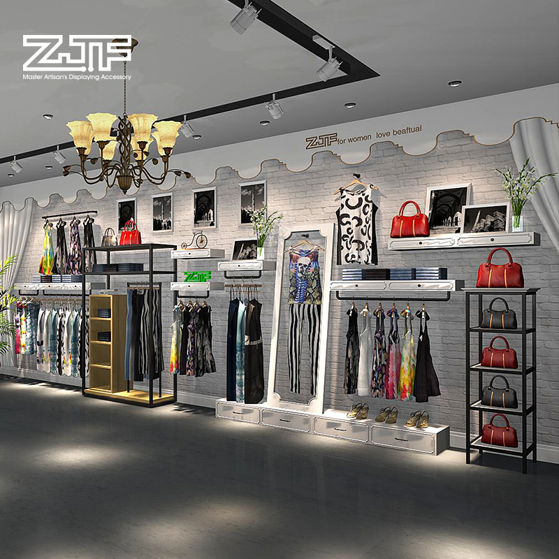 Public carpenter square zjf design fees and clothing store display rack on the wall display rack shelf racks showcase custom