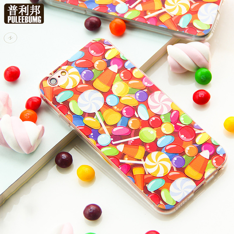 Puli bang apple s mobile phone shell creative colorful candy drop resistance package iphone6 phone shell mobile phone shell silicone soft shell side