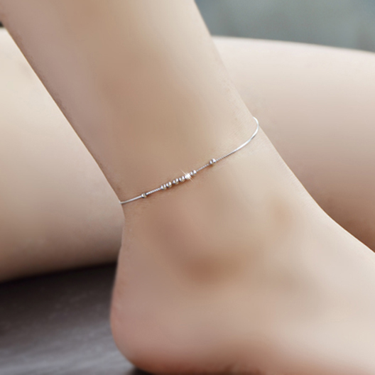 Pure 925 silver beads transfer beads anklets silver anklets female korean fashion jewelry birthday gift 601