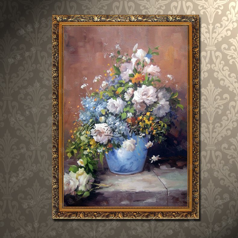 Pure hand painted oil painting classical european handmade flower paintings framed decorative painting the living room restaurant entrance channel GTH2
