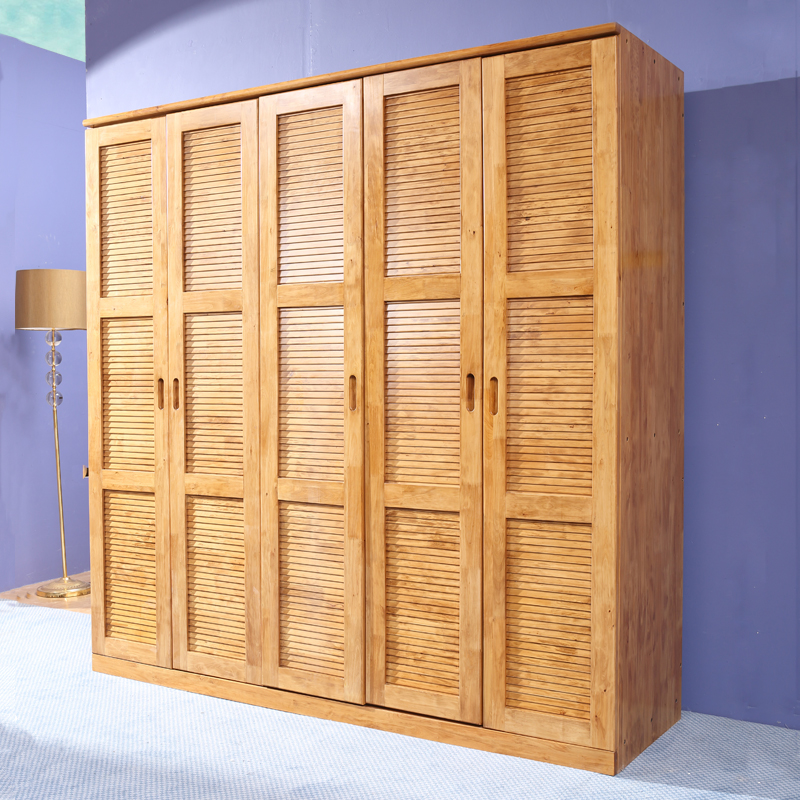 Pure solid wood cedar wardrobe closet 5 large wooden wardrobe sliding door wardrobe flat raw wood style furniture custom storage cabinets