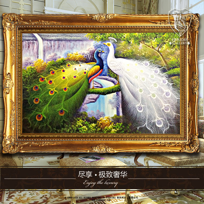 Puri fernandez pure hand painted painting genuine us european painting decorative painting the living room restaurant entrance paintings peacock annunciation