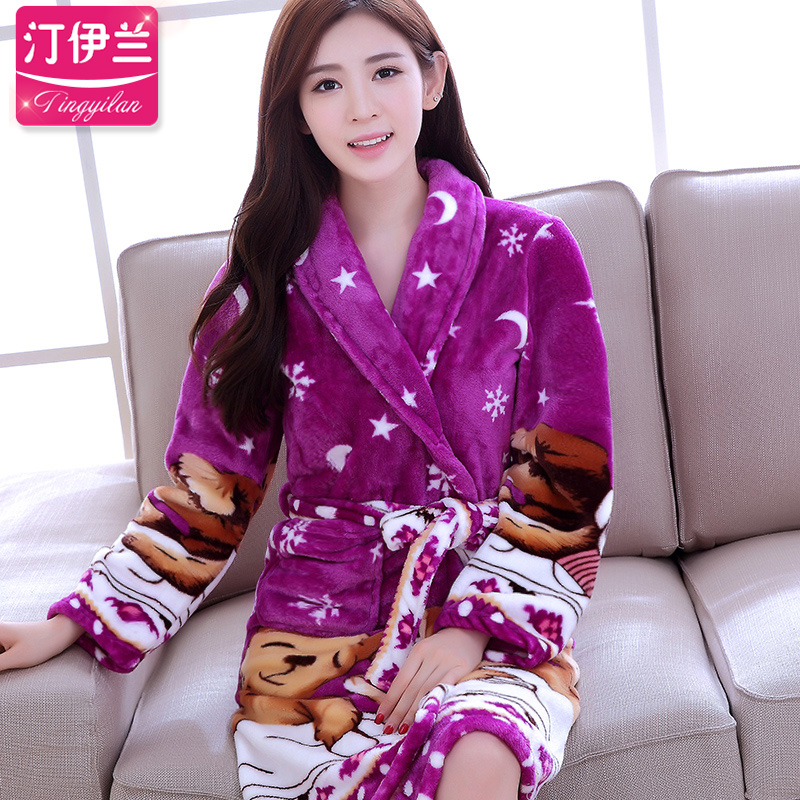 0f9e8000bbc5 Get Quotations · Purple moon and the stars cartoon bear coral velvet pajamas  female thick flannel nightgown bathrobe women