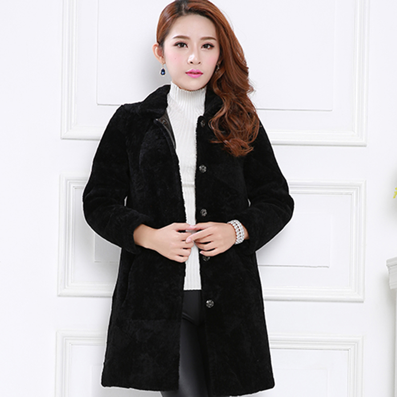 Purpleèå¼skipperling haining sheep shearing fur collar slim solid color fur collar and long sections fur fur coat women