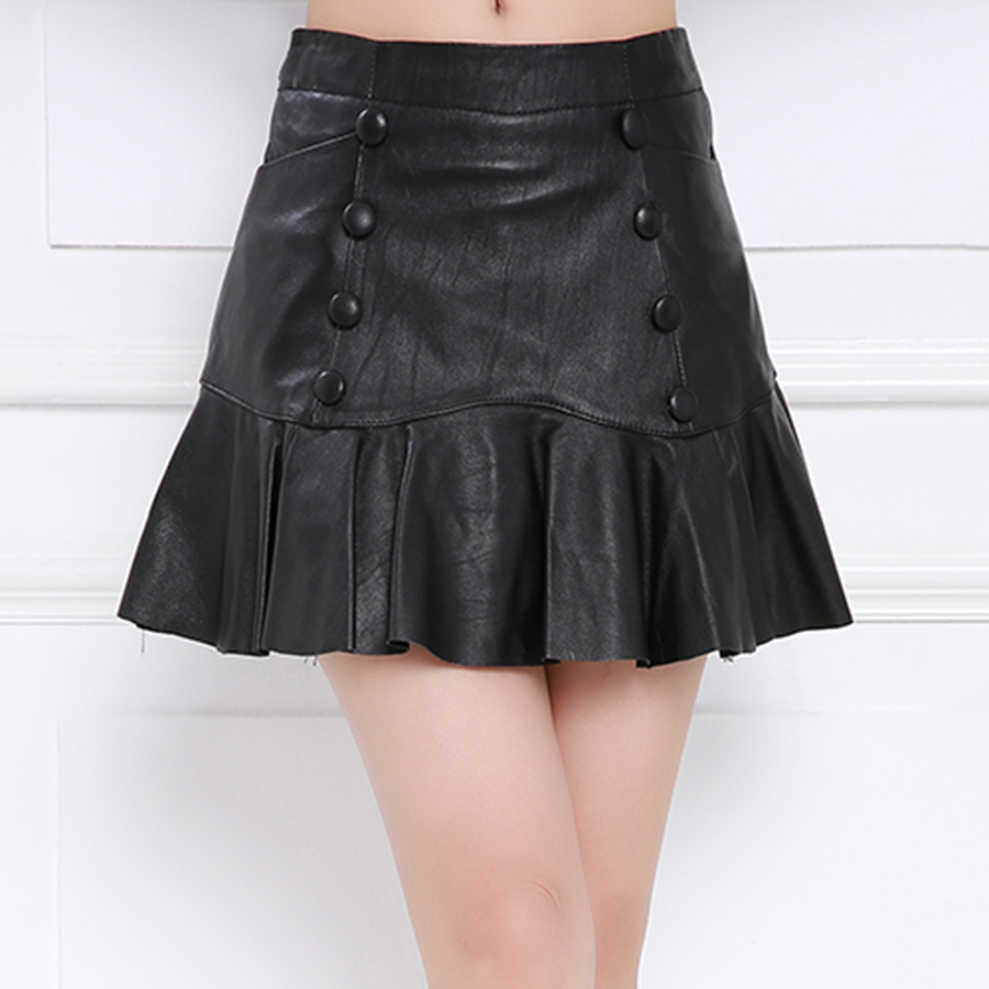 Purple舞弄skipperling sheepskin leather skirt