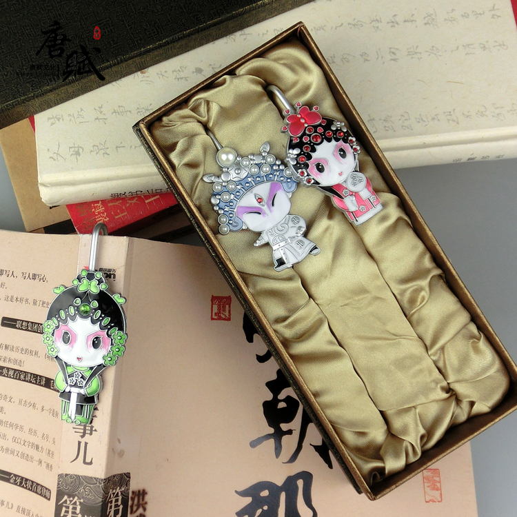 Q version of peking opera cartoon metal bookmark gift pair chinese wind business gifts to send foreigners abroad foreign affairs