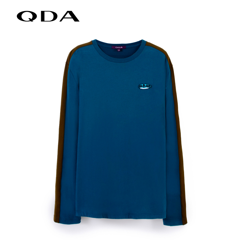 Qda counter genuine simple casual men hit the color round neck sweater fashion blouse summer new 47102304