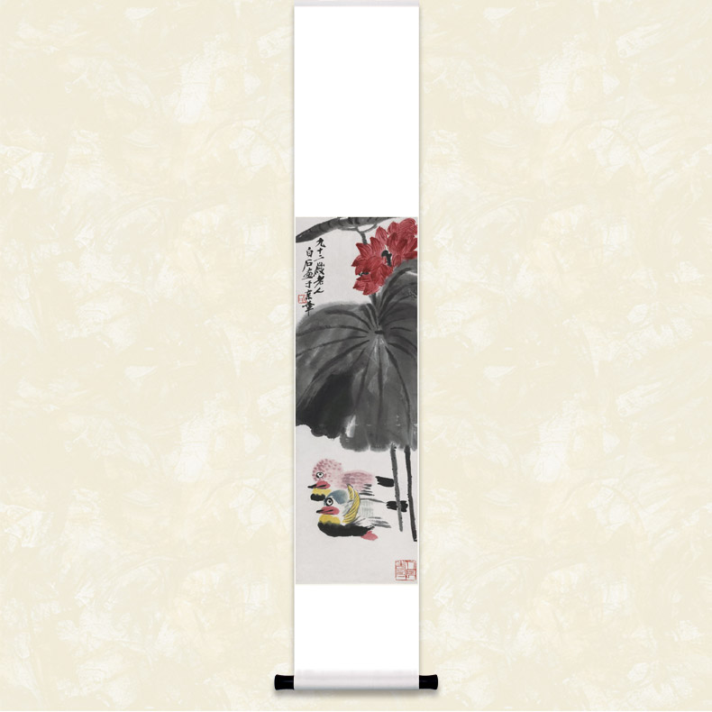 Qi baishi painting lotus duck figure paintings decorate the living room bedroom hotel clubs public art boutique hanging scroll calligraphy and painting gift