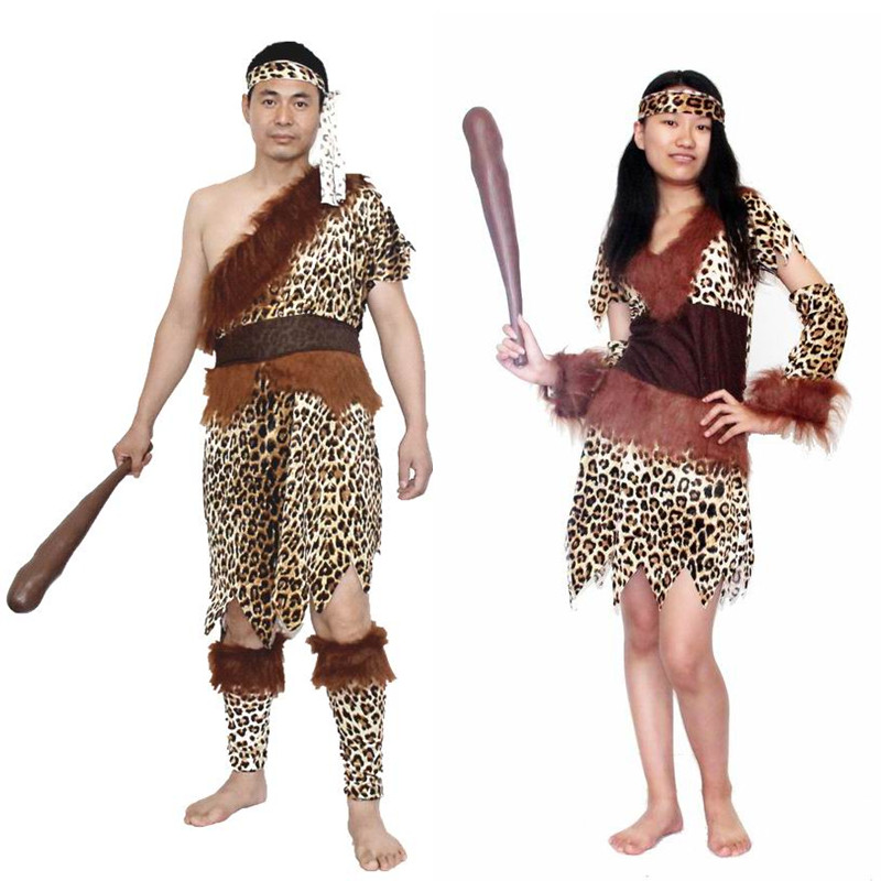 Qi county cos primitive caveman costume savage indians indigenous hunter with leopard savage savage clothes