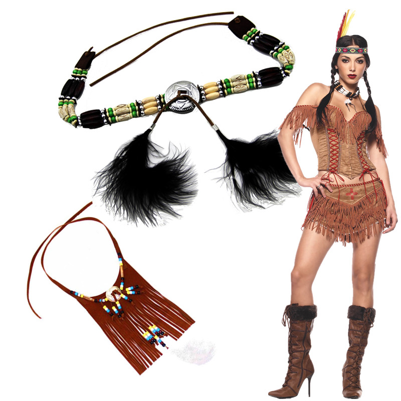 Qi county savage indigenous indian jewelry necklace indian lnjun belt handmade necklace