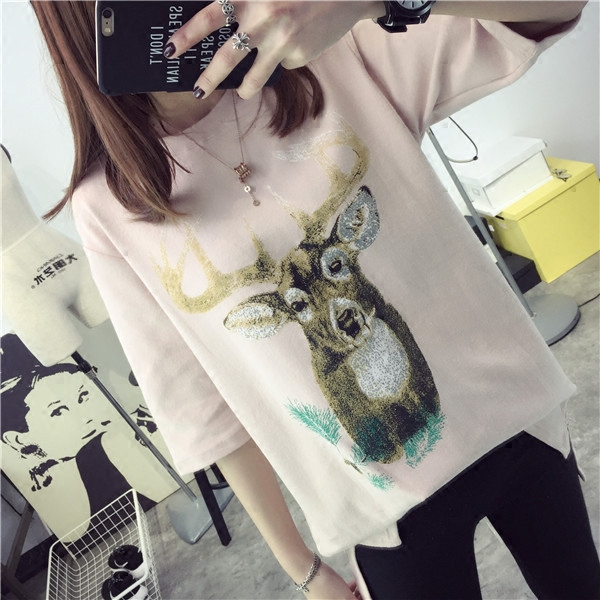 Qiç±³deer loose short sleeve t-shirt sleeve 2016 new wave of korean version of spring women students in the spring and summer coat