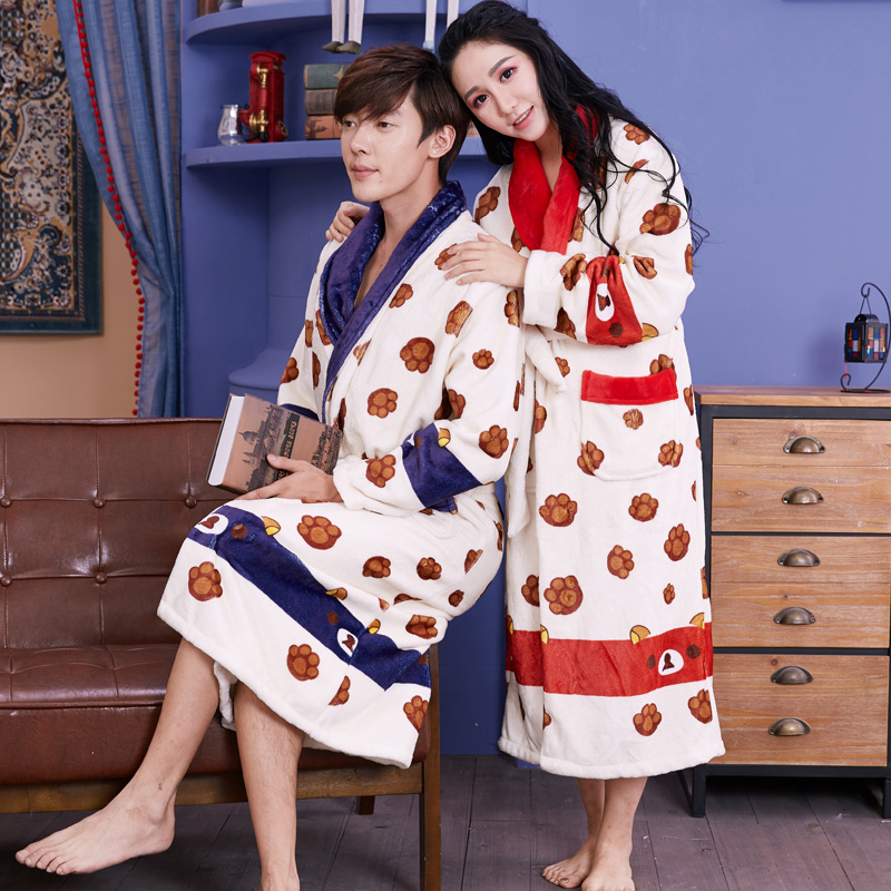 Qian liang couple paragraph long sleeve flannel nightgown female korean version of the cartoon images of bath robe thickening in autumn and winter home service men and cute