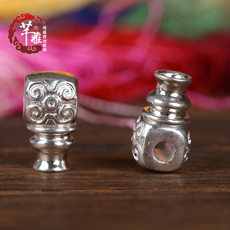 Qian ya tee 925/combined gold and silver solid mayhidden carved buddha head bodhi beads diy accessories