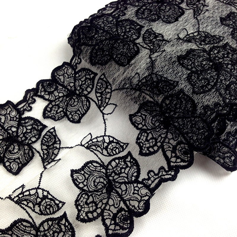 Qian yuan month black openwork embroidery lace fabric lace lace handmade diy fabric lace fabric wholesale clothing