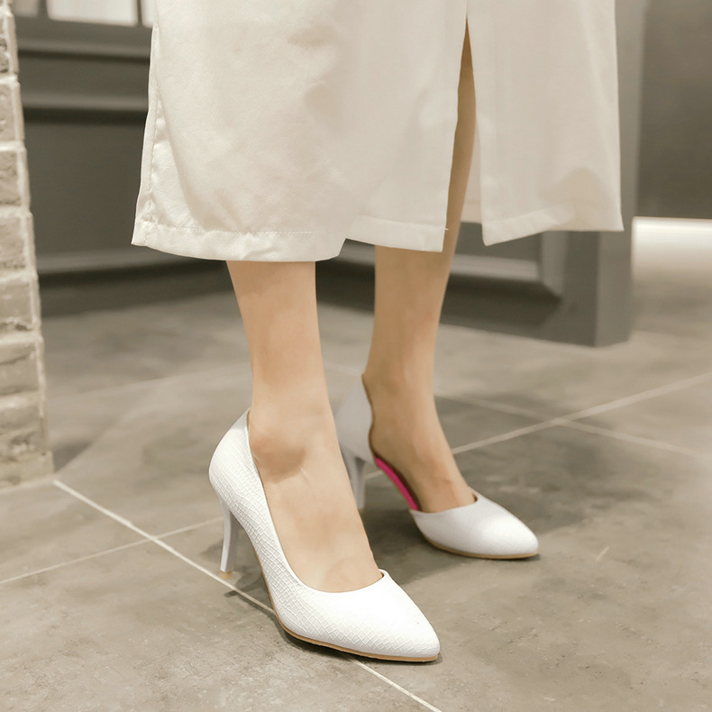 Qin hui spring fine with sexy women shoes shallow mouth pointed shoes women high heels work shoes shoe foot lazy shoes