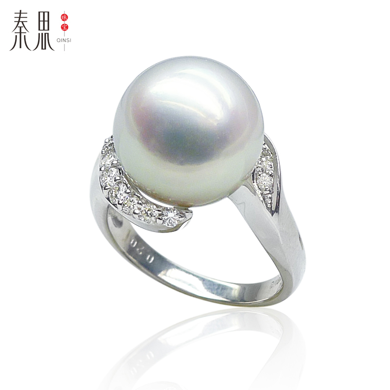 Qin think jewelry white south sea pearl sea pearl ring 2MM k gold 12.05ct beautiful texture and strong high quality