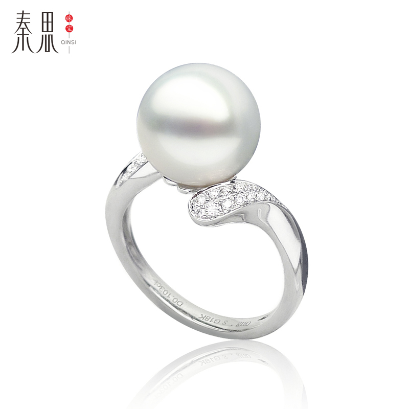 Qin think [simple] white south sea pearl sea pearl ring k gold diamond high quality custom models