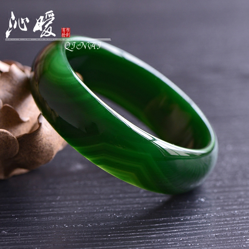 Qin warm natural atmospheric dark green grass green agate bracelet widened thickened chalcedony crystal bracelet female models