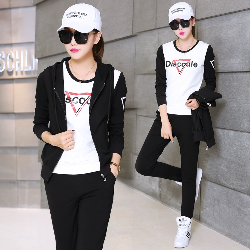 Qing song 2016 new winter leisure sports suit female autumn korean fashion was thin sweater vest three sets